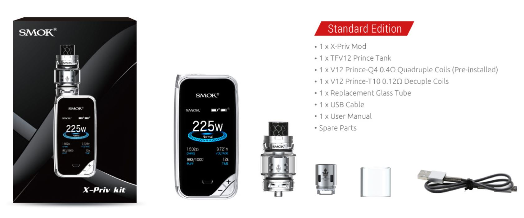 Smoktech X-Priv TC225W Grip Full Kit Prism Rainbow 0 mAh 1 ks