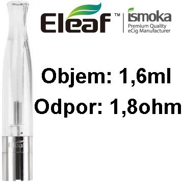 iSmoka-Eleaf BCC-CT Clearomizer 1,6ml 1,8 ohm čirý