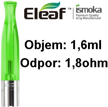 iSmoka-Eleaf BCC-CT Clearomizer 1,6ml 1,8 ohm zelený