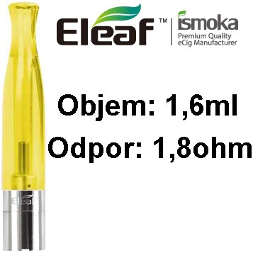 iSmoka-Eleaf BCC-CT Clearomizer 1,6ml 1,8 ohm žlutý