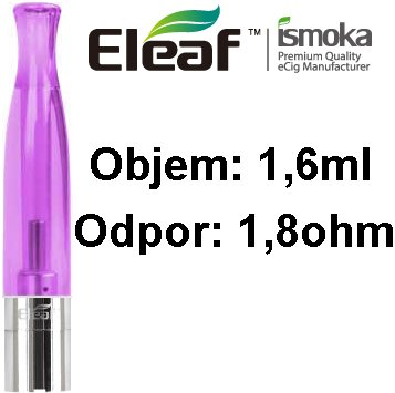 iSmoka-Eleaf BCC-CT Clearomizer 1,6ml 1,8 ohm fialový