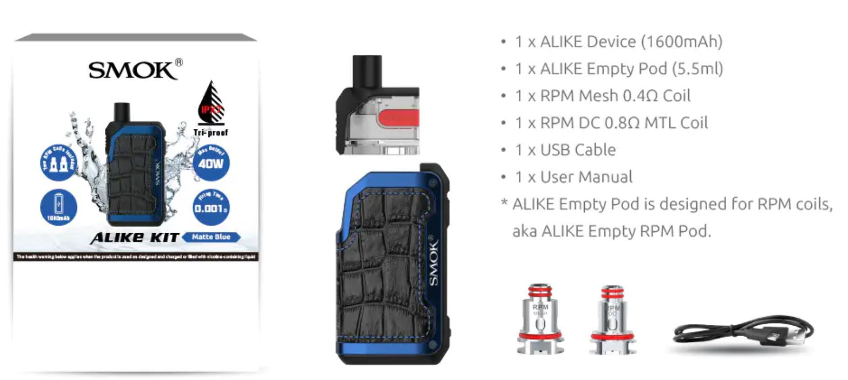 Smoktech ALIKE TC40W Grip Full Kit 1600 mAh Matte Blue 1 ks